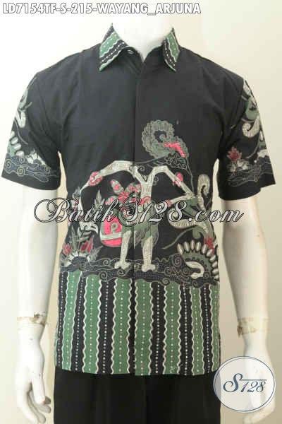 Hem Batik Untuk Pria Tampil Gagah Dan Tampan, Baju Batik Keren Motif Wayang Bima Proses Tulis Bahan Adem Model Lengan Pendek Harga 200 Ribua [LD7154TF-S]