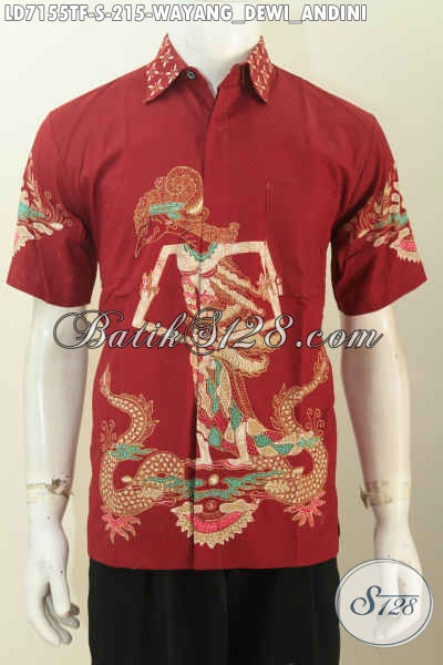 Kemeja Batik Keren Warna Merah, Baju Batik Wayang Motif Dewi Sri a.k.a Dewi Padi Proses Tulis, Pakaian Batik Lengan Pendek Mewah Full Furing Hanya 200 Ribua [LD7155TF-S]