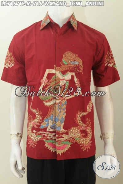 Pusat Baju Batik Online Paling Up To Date, Jual Kemeja Batik Wayang Merah Motif Dewi Ulupi Size M Bahan Adem Nyaman Di Pakai Proses Tulis Full Furing