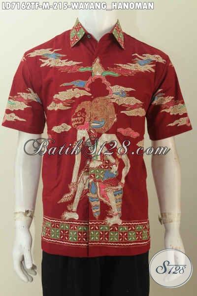 Hem Batik Wayang Motif Hanoman, Kemeja Batik Dasar Merah Kwalitas Premium Model Lengan Pendek Untuk Penampilan Lebih Istimewa Dan Gagah [LD7162TF-M]