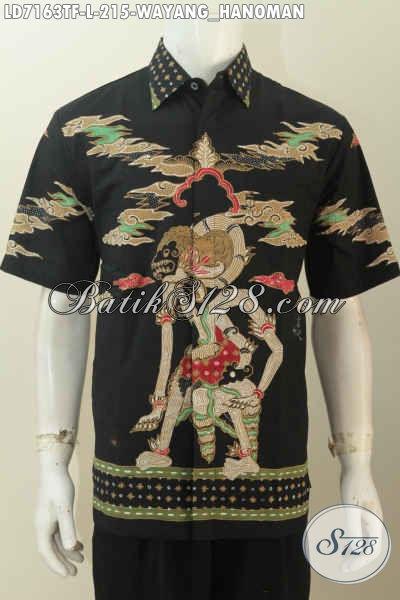 Hem Batik Wayang Lengan Pendek Dasar Hitam Motif Hanoman, Baju Batik Tulis Full Furing Tampil Trendy Dan Tampan, Size M