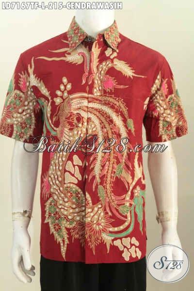 Baju Batik Keren Kwalitas Bagus, Pakaian Batik Tulis Motif Burung Cendrawasih Lengan Pendek Mewah Full Furing hanya 215K [LD7167TF-L]