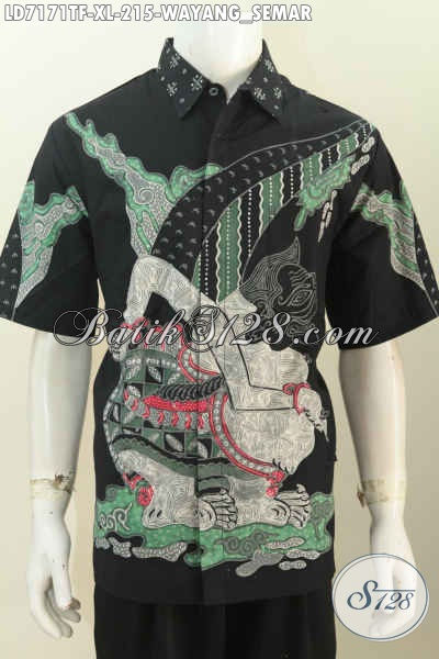 Hem Batik Pria Dewasa Motif Wayang Bagong, Baju Batik Tulis Solo Untuk Santai Model Lengan Pendek Pake Furing, Size XL