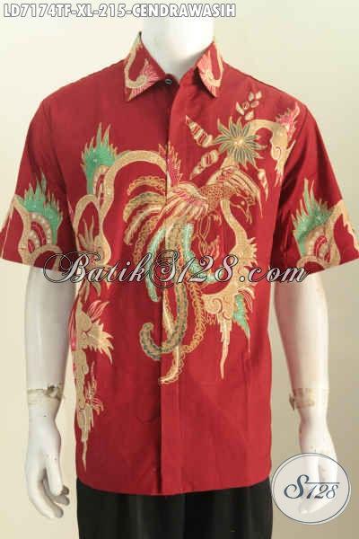 Baju Batik Tulis Mewah Full Furing Hanya 200 Ribuan, Pakaian Batik Untuk Kerja Motif Modern Model Lengan Pendek, Size XL