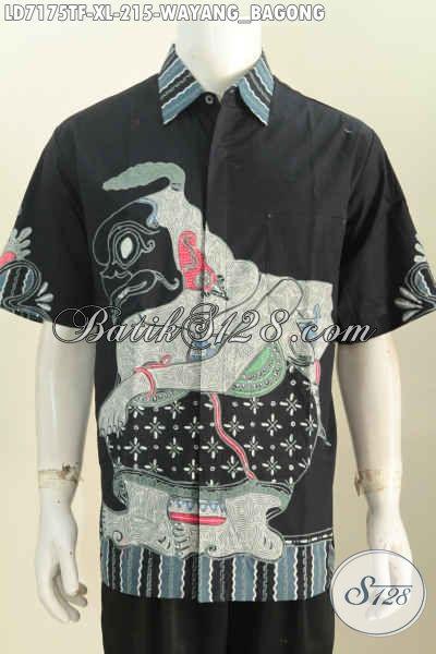 Baju Batik Wayang Lengan Pendek, Kemeja Batik Halus Proses Tulis Daleman Full Furing, Bisa Untuk Ke Kantor Dan Jalan-Jalan [LD7175TF-XL]