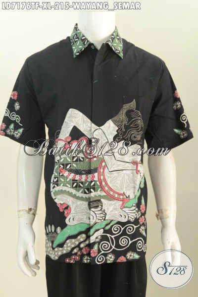 Hem Batik Wayang Semar, Pakaian Batik Keren Halus Full Furing Bahan Adem Untuk Penampilan Lebih Gagah Berwibawa [LD7176TF-XL]