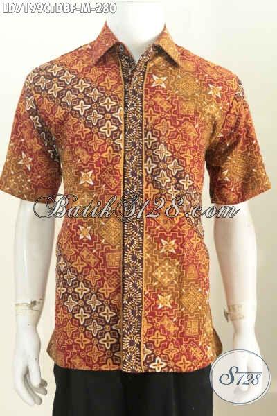 Batik Hem Lengan Pendek Halus Bahan Kain Doby, Baju Batik Modis Full Furing Motif Bagus Cap Tulis Harga 280 Ribu, Size M