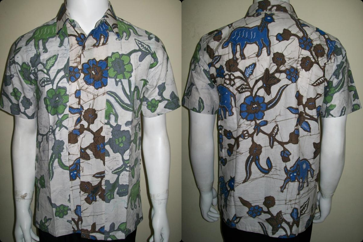 Batik Kombinasi Dua Warna Pria Lengan Pendek, Untuk Remaja Muda