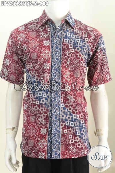 Jual Busana Batik Lengan Pendek Elegan, Baju Batik Solo Istimewa Full Furing Bahan Dolby Motif Trendy Cap Tulis Untuk Tampil Lebih Gagah [LD7200CTDBF-M]