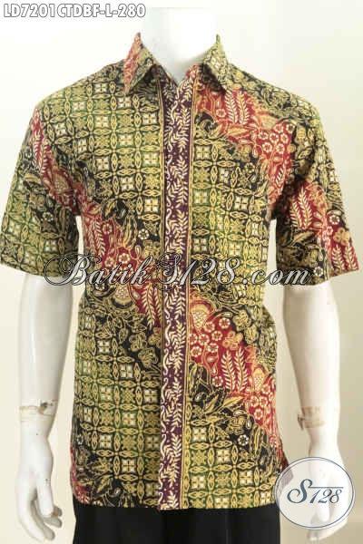 Jual Baju Batik Pria Online, Hem Batik Lengan Pendek Full Furing Motif Mewah Proses Cap Tulis Harga 280 Ribu [LD7201CTDBF-L]
