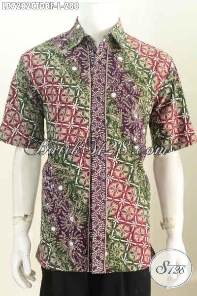 Baju Batik Motif Parang Lengan Pendek, Hem Batik Bahan Kain Doby Full Furing Untuk Kerja Dan Acara Resmi, Size L