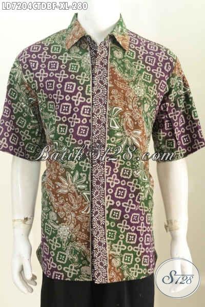 Toko Batik Paling Up To Date, Sedia Kemeja Lengan Pendek Modis Halus Mewah Full Furing Bahan Kain Doby Asli Buatan Solo Harga 280K [LD7204CTDBF-XL]