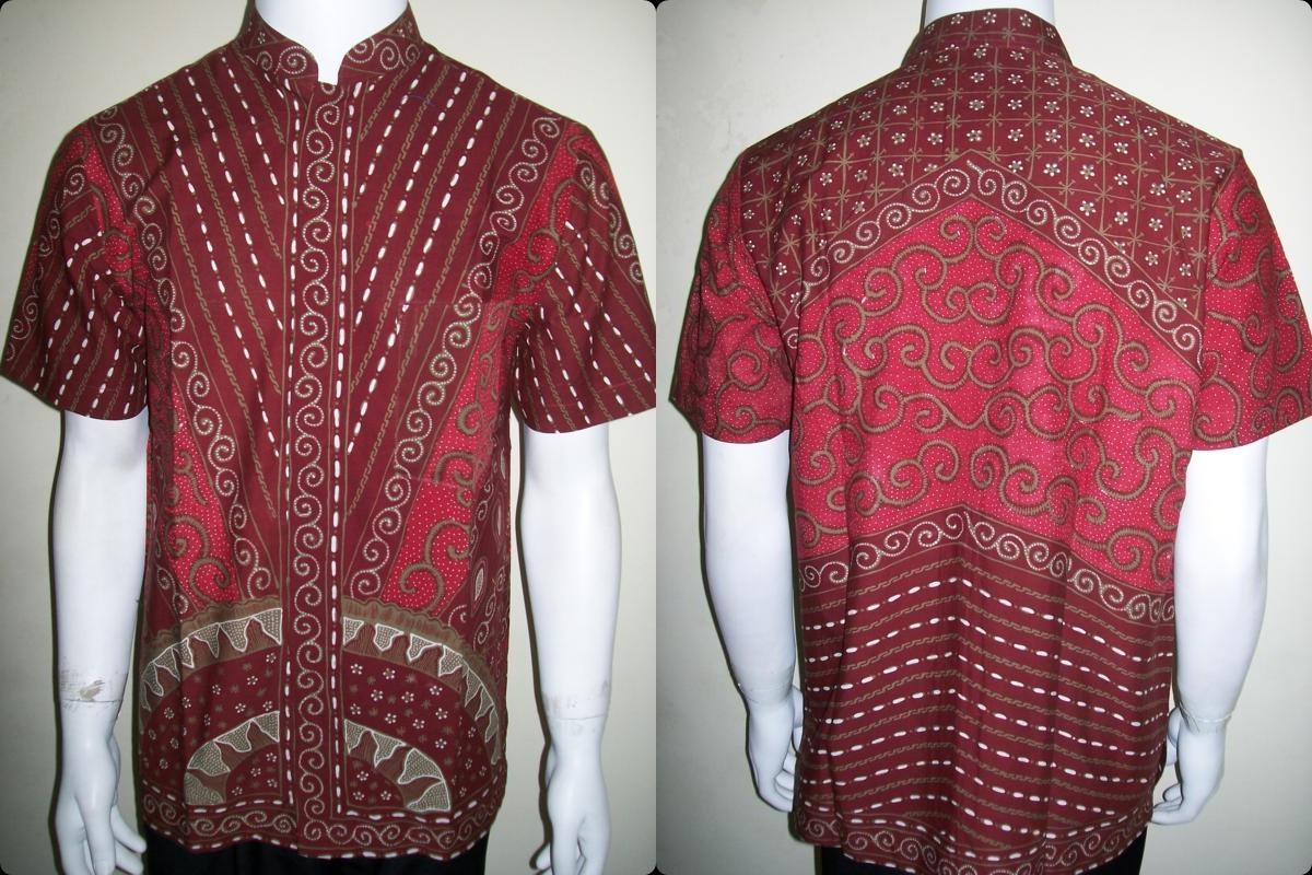 Jual Baju Batik Kerah Shanghai / Koko Warna Merah Menawan [LD720TK-M]