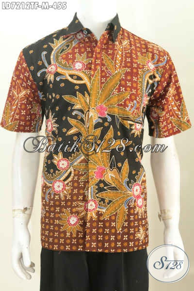 Baju Batik Solo Mewah, Hem Batik Premium Lengan Pendek Full Furing Harga 400 Ribuan Bahan Adem Motif Berkelas Tulis Tangan [LD7212TF-M]