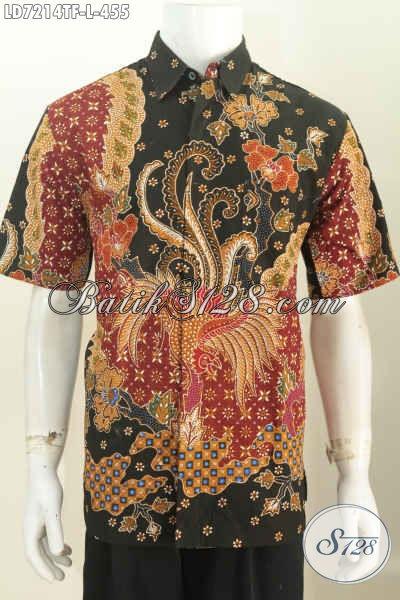 Kemeja Batik Solo Halus, Baju Batik Jawa Tengah Lengan Pendek Size L Full Furing, Bisa Buat Kerja Dan Rapat [LD7214TF-L]