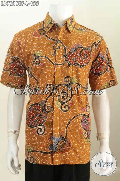 Baju Batik Pria Ukuran L, Hem Batik Elegan Mewah Pakai Furing Motif Bagus Proses Tulis Model Lengan Pendek, Cocok Buat Kerja Dan Kondangan [LD7215TF-L]
