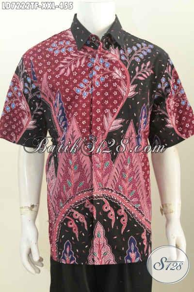 Hem Batik Jumbo, Kemeja Batik Pria Gemuk XXL Bahan Kwalitas Tinggi Motif Proses Tulis Model Lengan Pendek Pake Furing [LD7222TF-XXL]