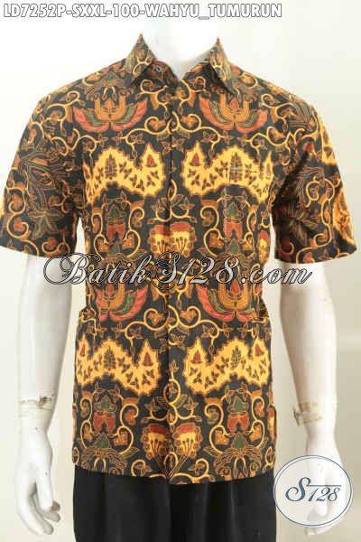 Hem Batik Klasik Untuk Kerja Dan Rapat, Baju Batik Motif Wahyu Tumurun Lengan Pendek Proses Printing Harga 100K [LD7252P-XXL]