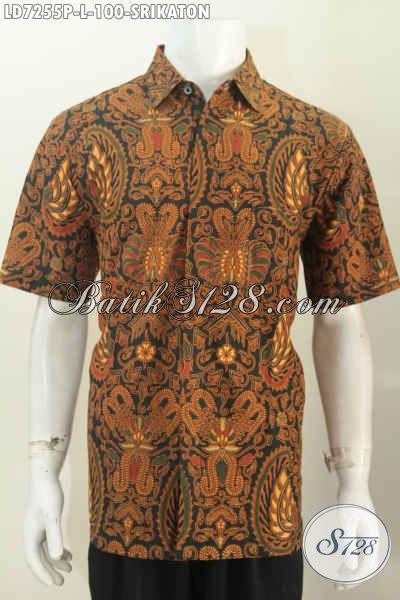 Hem Batik Srikaton Ukuran L, Pakaian Batik Halus Lengan Pendek Proses Printing Asli Buatan Solo [LD7255P-L]