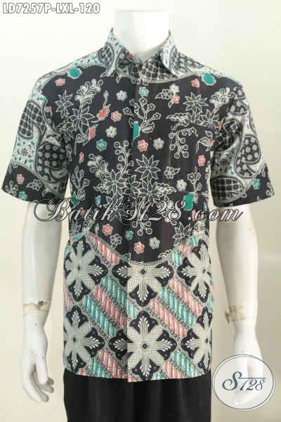 Baju Batik Printing Motif Keren, Pakaian Batik Modis Lengan Pendek Bisa Buat Santai Dan Formal [LD7257P-L , XL]