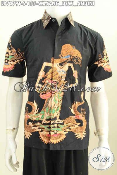 Hem Batik Tulis Dasar Hitam Motif Wayang Dewi Sri a.k.a Dewi Padi, Kemeja Batik Lengan Pendek Keren Untuk Tampil Gaya Dan Gaul [LD7379T-S]