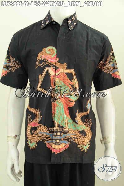 Kemeja Batik Kerja Motif Wayang Dewei Andini, Busana Batik Solo Lengan Pendek Proses Tulis Size M