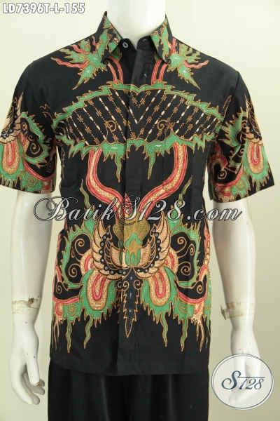 Hem Batik Santai Cowok Ukuran L, Kemeja Batik Modern Halus Proses Tulis Motif Unik, Cocok Juga Untuk Seragam Kerja [LD7396T-L]