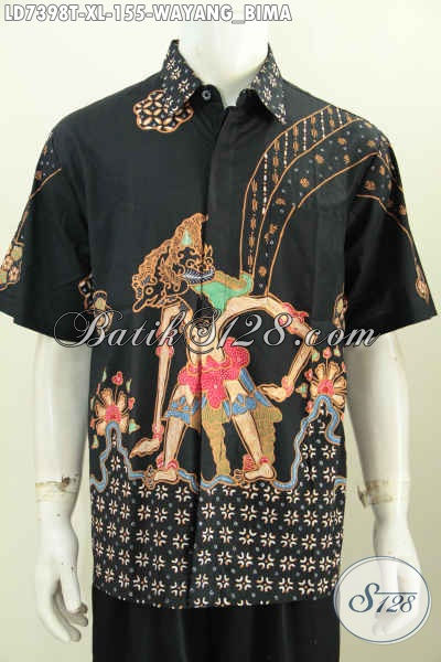 Baju Batik Cowok Dewasa Ukuran XL, Hem Batik Tulis Modis Halus Motif Wayang Bima Bahan Adem Yang Nyaman Di Pakai Model Lengan Pendek Hanya 155K [LD7398T-XL]
