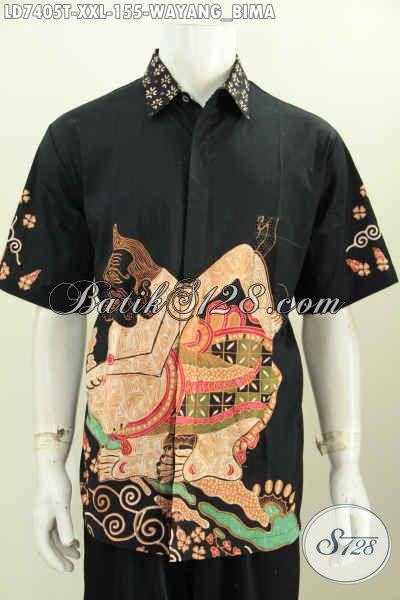 Baju Batik Khusus Pria Gemuk Motif Wayang Semar, Kemeja Batik Elegan Halus Lengan Pendek Proses Tulis Untuk Tampil Lebih Berwibawa [LD7405T-XXL]