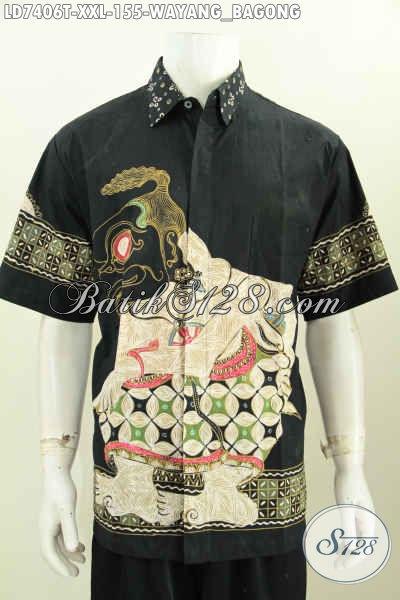 Baju Batik ELegan Dan Keren, Hem Batik Jumbo Proses Tulis Motif Wayang Bagong Model Lengan Pendek, Cocok Untuk Pria Gemuk