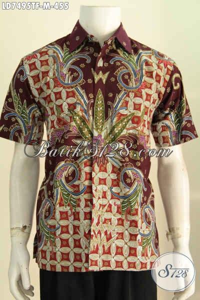 Toko Online Baju Batik Lengan Pendek Keren Bahan Adem Motif Bagus Proses Tulis Full Furing Harga 400 Ribuan [LD7495TF-M]