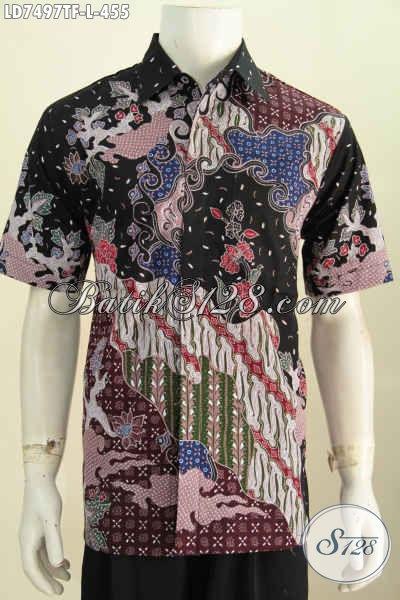 Hem Batik Istimewa Size L, Pakaian Batik Modis Halus Proses Tulis Model Lengan Pendek Pake Furing Harga 455K [LD7497TF-L]