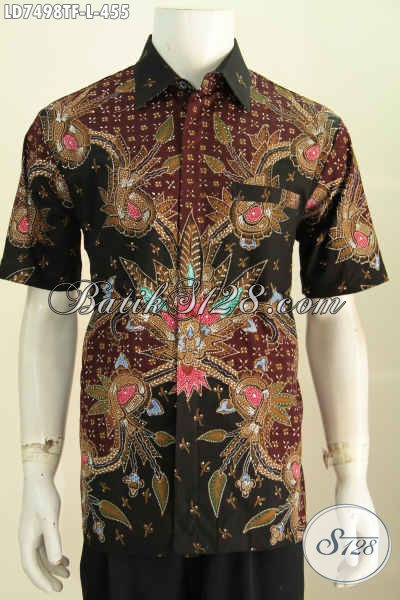 Kemeja Batik Lengan Pendek Full Furing, Hem Batik Premium Halus Kwalitas Bagus Motif Berkelas Proses Tulis Untuk Penampilan Makin Menawan [LD7498TF-L]