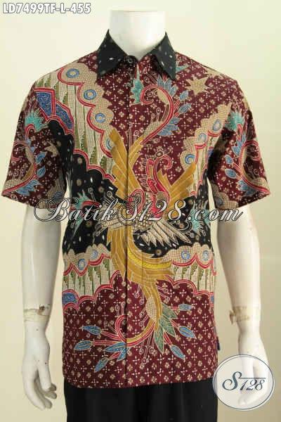 Jual Online Kemeja Batik Premium Lengan Pendek Ukuran L Bahan Halus Proses Tulis Daleman Full Furing Lebih Nyaman Dan Kesan Mewah [LD7499TF-L]