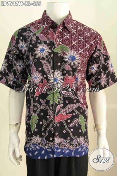 Baju Batik Keren Motif Bunga, Pakaian Batik Pria Dewasa Proses Tulis Asli Solo Model Lengan Pendek Pakai Furing [LD7502TF-XL]