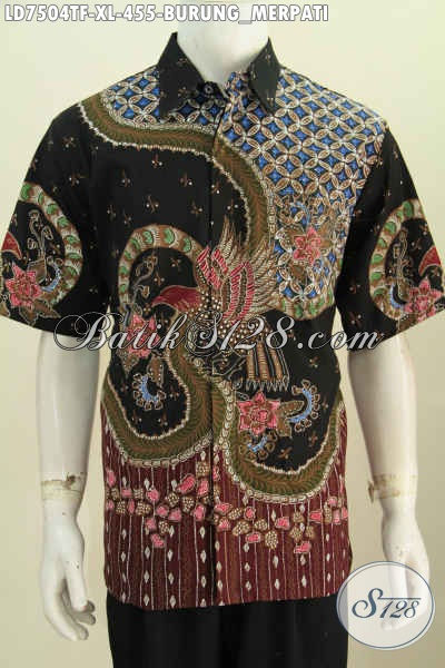 Pakaian Batik Istimewa, Hem Batik Halus Motif Burung Merpati Lengan Pendek Pakai Furing Proses Tulis Tampil Lebih Ganteng Maksimal [LD7504TF-XL]