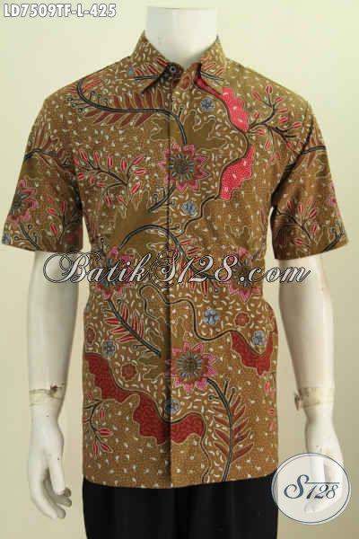 Baju Batik Solo Motif Trendy, Hem Batik Keren Warna Bagus Proses Tulis Model Lengan Pendek Full Furing Cowok Terlihat Lebih Macho [LD7509TF-L]