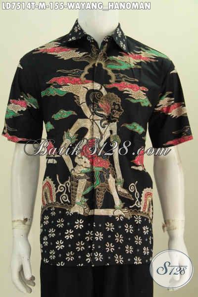Busana Batik Modern Keren Motif Wayang Hanoman, Pakaian Batik Istimewa Lengan Pendek Buatan Solo Untuk Tampil Lebih Gagah [LD7514T-M]