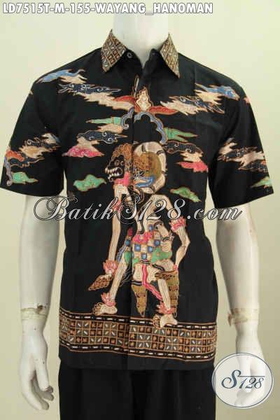 Baju Batik Hem Lengan Pendek Halus Motif Hanoman, Pakaian Batik Istimewa Masa Kini Bahan Adem Proses Tulis Model Lengan Pendek Ukuran M [LD7515T-M]
