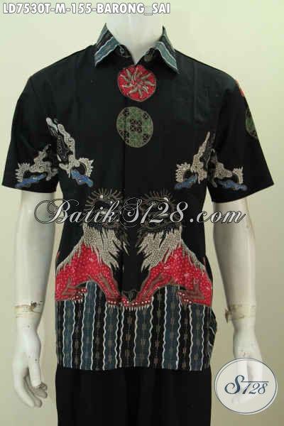 Baju Batik Tulis Motif Barongsai, Kemeja Batik Lengan Pendek Untuk Penampilan Lebih Trendy Dan Gaya [LD7530T-M]