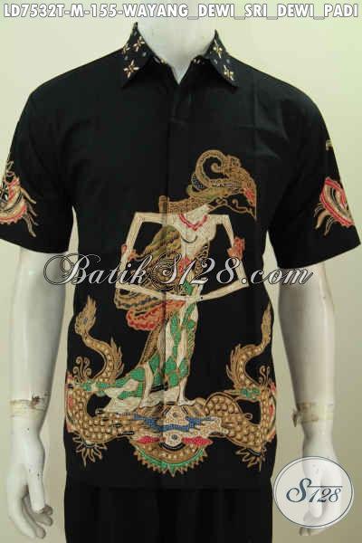 Kemeja Batik Solo Istimewa Kwalitas Biasa, Hem Batik Tulis Lengan Pendek Motif Wayang Dewi Sri Asli Buatan Solo Harga 155K [LD7532T-M]