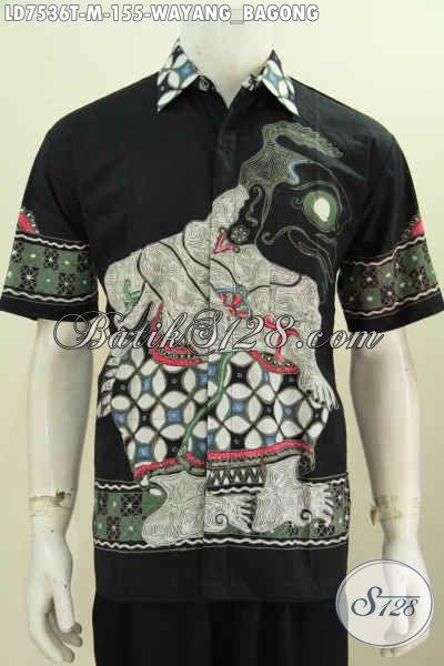Hem Batik Cowok Size M, Pakaian Batik Spesial Buat Pria Muda Lengan Pendek Motif Bagong Proses Tulis Hanya 100 Ribuan Saja [LD7536T-M]