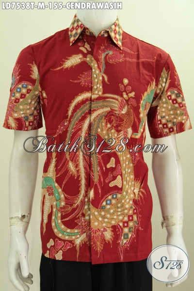 Baju Batik Kerja Motif Cendrawasih, Busana Batik Modern Proses Tulis Lengan Pendek, Cocok Juga Buat Kondangan [LD7538T-M]