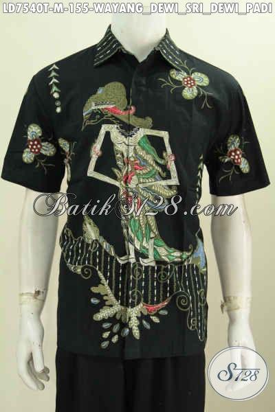 Sedia Baju Batik Solo Halus Proses Tulis, Kemeja Batik Lengan Pendek Modern Motif Dewi Sri Bisa Untuk Santai Dan Resmi [LD7540T-M]