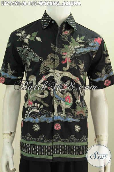 Hem Batik Keren Tampil Lebih Mempesona, Baju Batik Solo Halus Proses Tulis Motif Arjuna Tampil Makin Istimewa [LD7542T-M]