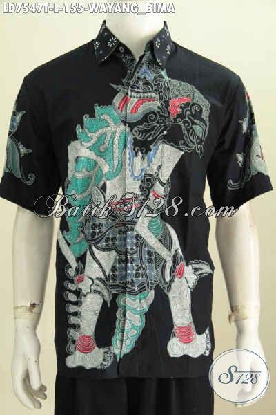 Baju Batik Kerja Motif Wayang Bima, Pakaian Batik Keren Modis Dan Elegan Proses Tulis 100 Ribuan [LD7547T-L]