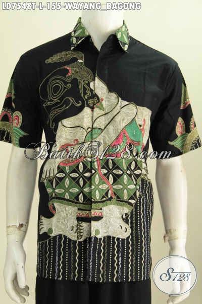 Baju Batik Motif Bagong, Kemeja Batik Tulis Halus Dasar Hitam Buatan Solo Tampil Makin Istimewa [LD7548T-L]