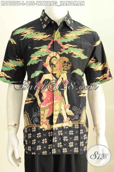 Hem Batik Lengan Pendek Motif Wayang Hanoman, Busana Batik Solo Halus Proses Tulis Tampil Lebih Mempesona [LD7552T-L]