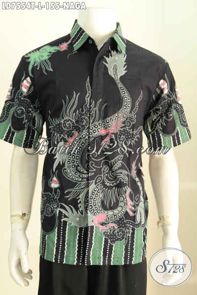 Hem Batik Jawa Tengah Motif Naga, Baju Batik Solo Lengan Pendek Elegan Warna Hitam Tampil Gagah Dan Modis [LD7554T-L]