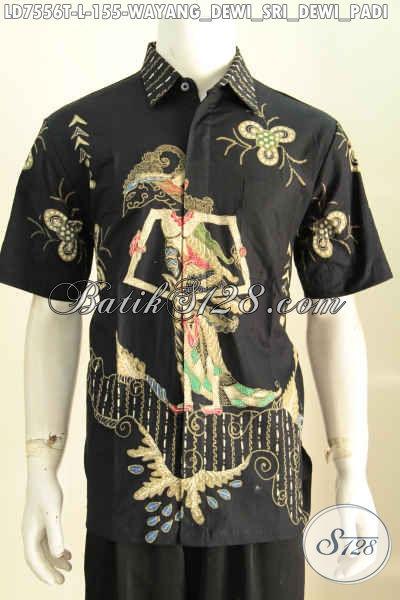 Baju Batik Hitam Motif Dewi Sri, Busana Batik Wayang Modis Bahan Adem Proses Tulis Untuk Kerja Dan Acara Formal [LD7556T-L]